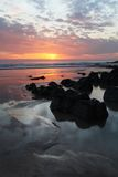 Sunset Woolacombe   North  Devon coast Royalty Free Stock Photos