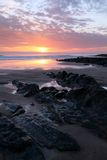 Sunset Woolacombe   North  Devon coast Royalty Free Stock Photo