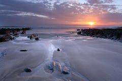 Sunset Woolacombe   North  Devon coast. Sunset Woolacombe Beach in North Devon South West England United kingdom Stock Photography