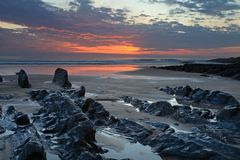 Sunset Woolacombe   North  Devon coast Stock Photography