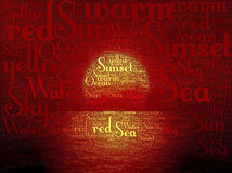 Sunset word text Stock Photography