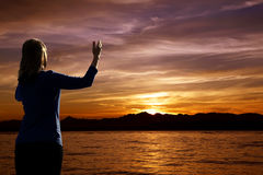 Sunset Worship Royalty Free Stock Photography
