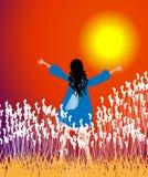 Sunset Worship. Girl worshipping god at sunset.vector illustration vector illustration