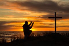 Sunset Worship Man Stock Images