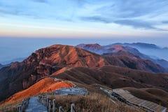 Sunset of Wugong Mountain Trekking. Wugong Mountain Trekking of jiangxi province Stock Photo