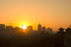 Sunset in Xi'an Stock Photo