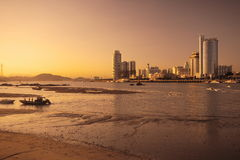 Sunset Xiamen. It is the time when the sun is ready to be down,the sky turn to the colour of effulgence Stock Photos