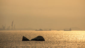 Sunset in Xiamen port, southeast China Royalty Free Stock Images