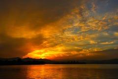 Sunset at Xihu lake Royalty Free Stock Photography