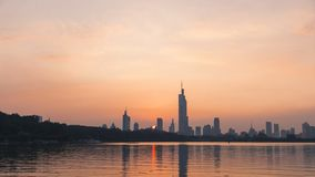 Sunset of xuanwu lake stock photos