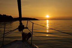 Sunset from yacht Royalty Free Stock Photo