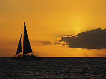 Sunset Yacht Royalty Free Stock Photography