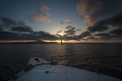 Sunset yacht. Royalty Free Stock Photos
