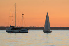 Sunset Yacht bay Stock Photography