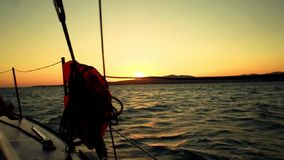 Sunset from a yacht board stock footage