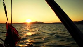 Sunset from a yacht board stock video footage
