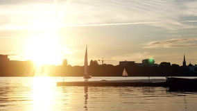 Sunset yacht lake river stock video footage