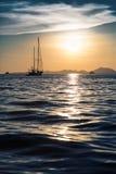 Sunset yacht. Luxury at sea Royalty Free Stock Photos