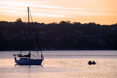 Sunset on Yacht in Manly Cove Royalty Free Stock Photo