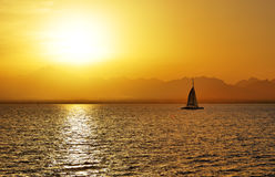 Sunset and yacht on Red Sea Stock Photo