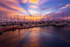 Sunset Yacht Sail Boat Docking Port Stock Photos