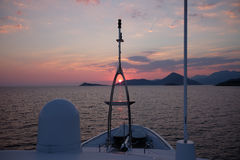 Sunset on the yacht. Summer sunset on the elite yacht royalty free stock images