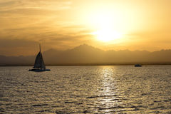 Sunset and yachts on Red Sea Royalty Free Stock Image