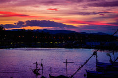 Sunset In Yalova Marina Royalty Free Stock Photos