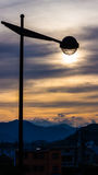 Sunset in Yamaguchi City, Japan. The lamp over the sun with colorful sky during the twilight time Stock Photos