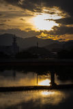 Sunset in Yamaguchi City, Japan. Views from the riverside with colorful lights reflect on the water Stock Photography