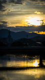Sunset in Yamaguchi City, Japan. Views from the riverside with colorful lights reflect on the water Stock Images