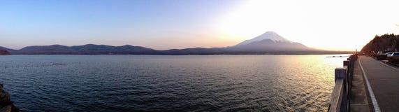 Sunset at Yamanaka Lake with Mount Fuji Stock Photos