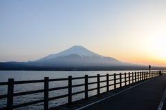 Sunset at Yamanaka Lake with Mount Fuji Stock Photo