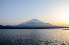 Sunset at Yamanaka Lake with Mount Fuji Stock Image