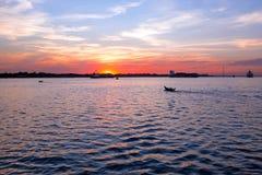 Sunset at the Yangon river in Yangon Myanmar Stock Image