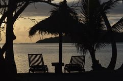 Sunset at Yasawa Islands Fiji. Sunset at Coconut Resort in the Yasawa islands in Fiji. View to The Blue Lagoon from the movie with the same name royalty free stock photo