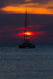 Sunset with yatch Royalty Free Stock Image