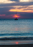 Sunset with yatch Royalty Free Stock Photo