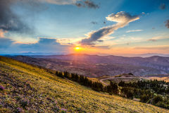 Sunset on the yellow stone canyon Royalty Free Stock Photo