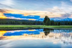 Sunset and Yellowstone royalty free stock images