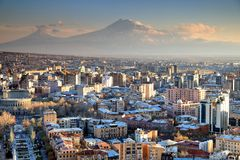 Sunset at Yerevan City, view with majestic Ararat mountain, Arme. Nia Stock Photo