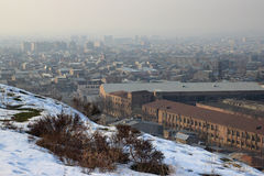 Sunset in Yerevan, the winter view from the Arin Berd hill (Armenia) Royalty Free Stock Image