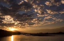 The sunset of Yingjiang river. Yunnan province, China Royalty Free Stock Photos