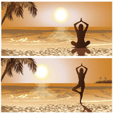 Sunset yoga Stock Images
