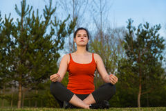 At sunset yoga meditation . Stock Photos
