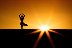 Sunset yoga. Peace and relax Royalty Free Stock Photo