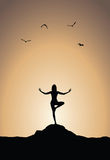 Sunset yoga poster Royalty Free Stock Image