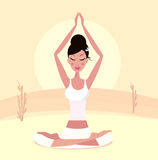 Sunset yoga : relaxing retro woman in lotus pose Stock Photos