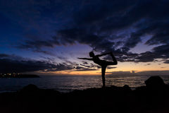 Sunset yoga session in Canarias Stock Images