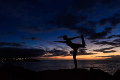 Sunset yoga session in Canarias Royalty Free Stock Images